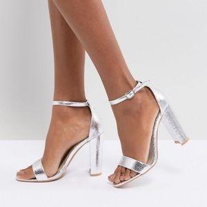 ASOS Silver Open Toe Block Heel